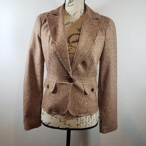Bebe Antique Gold Frayed Blazer Sz 4